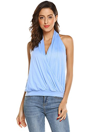 Pleated Wrap Top Shirt - Grabsa Women Sleeveless Wrap Tank Halter Neck Pleated Top