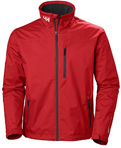 Helly Hansen Men's Crew Midlayer Fleece Lined Waterproof Windproof Breathable Rain Coat Jacket, 162 Red, Small