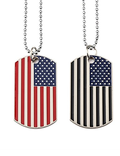(Kings&Pauper 2pcs American Flag USA Patriot Necklace Pendant Jewelry Army Card Stainless Steel Dog Tags 28'' (black+red) )