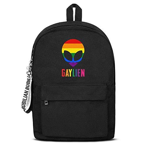 Gay Pride Alien Rainbow Women Men Water Resistant Black Canvas School Backpack Laptop Backpack