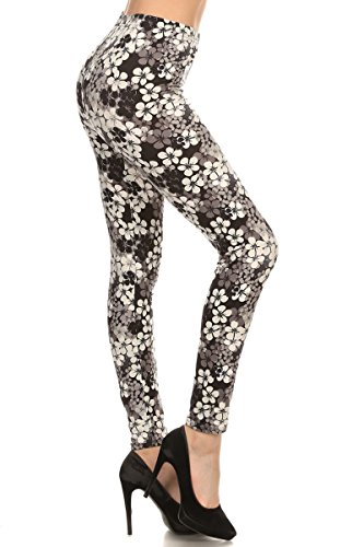 Leggings Depot Ultra Soft Women's Popular Best Printed Regular and Plus Size Fashion Leggings (Floral Accents, One Size (Size 0-12)) Accent Leggings