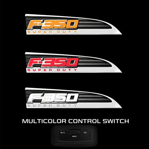 CHROME Ford Super duty F350 LED Lighted Fender Emblems 2011,12,13,14,15,16 PAIR By Recon