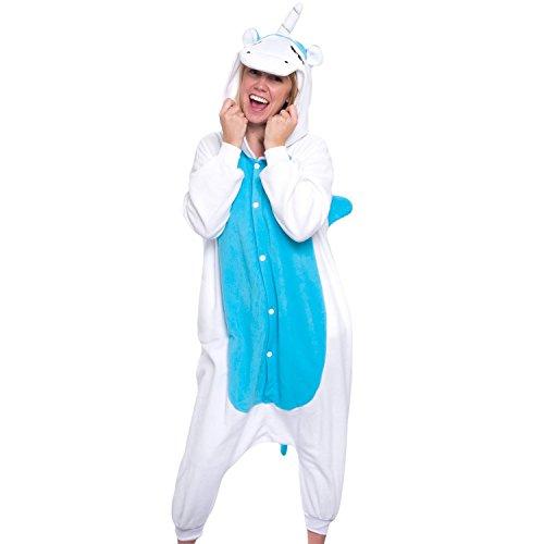 WOTOGOLD Animal Cosplay Costume Unisex Adult Pajamas Blue, Large