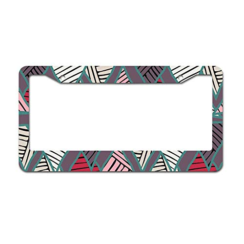 DKISEE Abstract 3D Geometric 01 License Plate Frame Aluminum Car Licence Plate Covers with 2 Holes 12