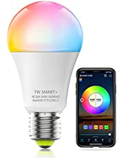 HaoDeng WiFi LED Light, Smart Bulb -Timer& Sunrise& Sunset- Dimmable, Multicolor, Warm White (Color Changing Disco Ball Lamp) - 7W A19 E27, Compatible with Alexa, Google Home Assistant and IFTTT