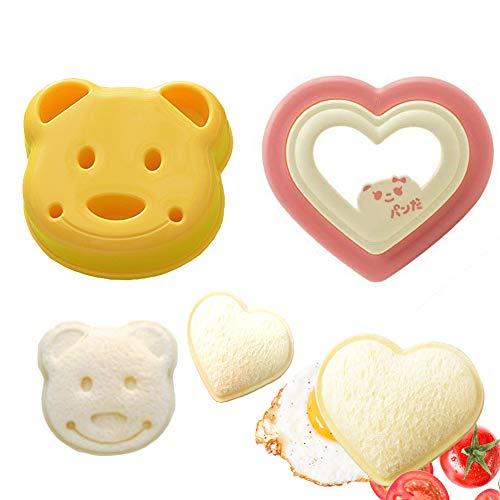 Sandwich Cutter/Bread Cutter Little Bear Shape & Heart-Shape DIY Sandwich Toast Bread Mold Maker for kid (2 Pcs)