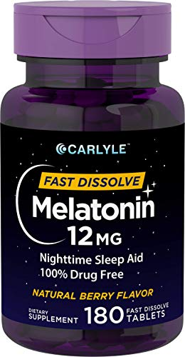Carlyle Melatonin 12 mg Fast Dissolve 180 Tablets | Nighttime Sleep Aid | Natural Berry Flavor | Vegetarian, Non-GMO, Gluten Free ()