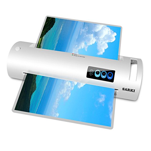 13'' Thermal Laminator, Laminating Machine Supports Both Hot & Cold Laminating, 3-Minute Warm-up, 320mm/min Laminating Speed, Automatic Shut Off Function, Great for Document/Photo/Card (A3-White) by SARKI