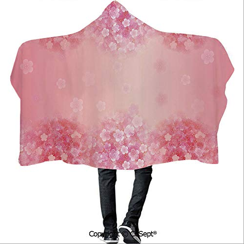 Wearable Plum - SCOCICI Wearable Hooded Blanket,Plum Blossom Botany Beauty Natural Spring Elegance Flowers Background Print,for Adults and Children(59.05x51.18 inch),Coral Ruby