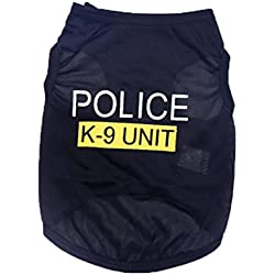 Wakeu Pet Shirt Small Dog Cat Clothes Puppy Police K-9 Unit Pattern Vest T-Shirt Pet Summer Apparel (XS, Black)