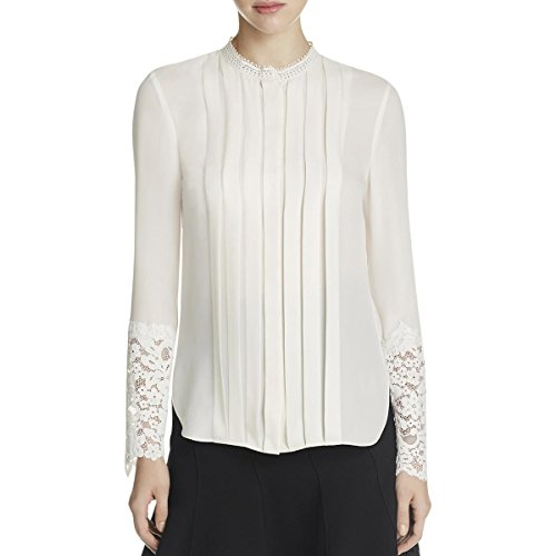 Elie Tahari Womens Solid Long Sleeves Casual Top Ivory XS by Elie Tahari