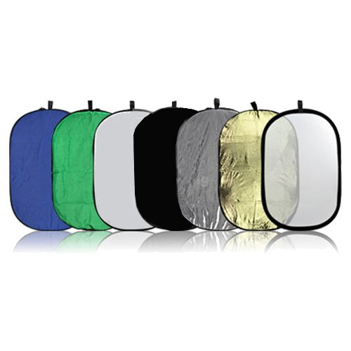 CowboyStudio 7-in-1 24 x 36 Inch Photography Photo Oval Collapsible Disc Reflector with Translucent, White, Blue, Green, Gold, Silver, and Black