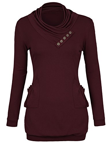 Timeson Ladies Comfortable Suit Summer Buttons Up Tops Wine (Button Trimmed Sweater)