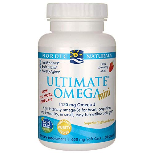 Nordic Naturals Ultimate Omega 2X Mini - Concentrated Omega-3 Supplement Supports Heart, Brain, and Immune Health, Strawberry Flavor, 60 Count (Best Omega 3 For Brain Health)