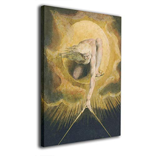 (Pantsing Canvas Wall Art Prints William Blake Ancient of Days -Photo Paintings Modern Decorative Giclee Artwork Wall Decor-Wood Frame Gallery Stretched 16