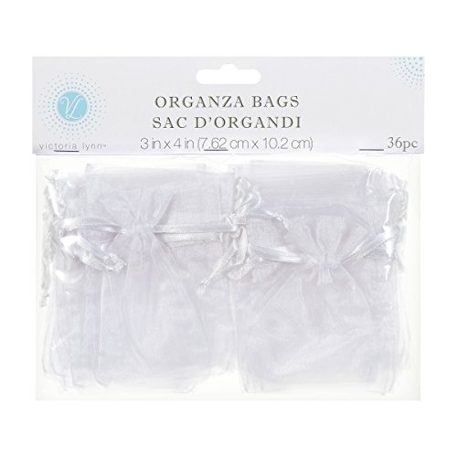 Darice 1405-40, Organza Bag, 36-Piece, 3-Inch-by-4-Inch, White (Rice Wedding)