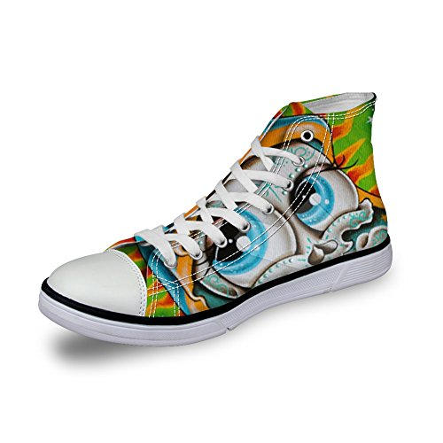 Per Te Disegni Scarpe Di Tela High-cut Sneaker Stagione Lace Up Scarpe Cranio Scarpe Da Ginnastica Casual Per Donna Skull-5
