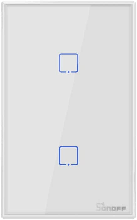 Sonoff TX T2 Smart Light Switch Wi-Fi Wall Switch, Works with Alexa and Google Home, Fit for US&CA Wall Switches, 2 Gang 1 Way, No Hub Needed (2 Gang)