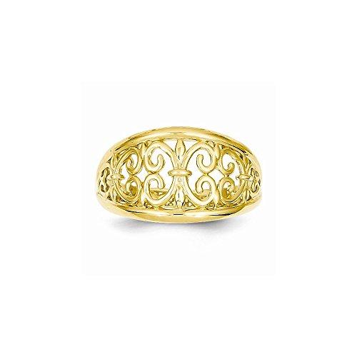 - 14K Fleur-De-Lis Tapered Ring