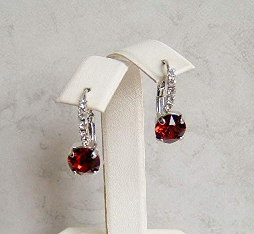 (Dark Red 8MM Round Crystal Lined Leverback Earrings Simulated Ruby July Birthstone Gift Idea RP)