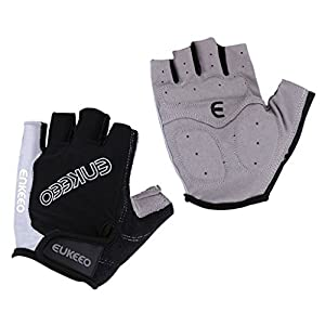 Enkeeo Cycling Gloves Half Finger Bike Gloves M/L/XL Breathable with Microfiber Leather, Anti-slip Shock-absorbing 5MM Gel and 3MM Sponge Pads, Velcro Design for Men/Women Road Racing (Black&Grey)