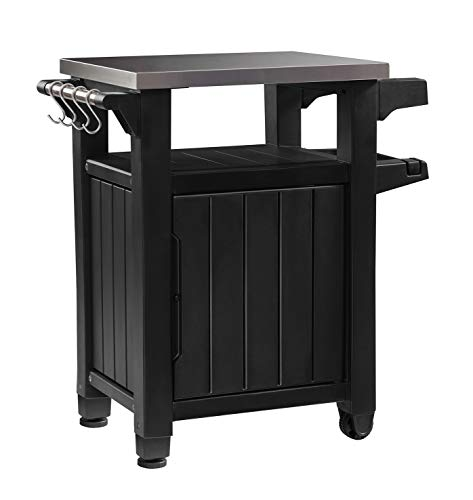 Keter Unity Indoor Outdoor BBQ Entertainment Storage Table/Prep Station with Metal Top, Graphite - Prep Station