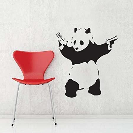 Banksy gangster panda with guns vinyl wall art decal sticker 70cm h x 60cm