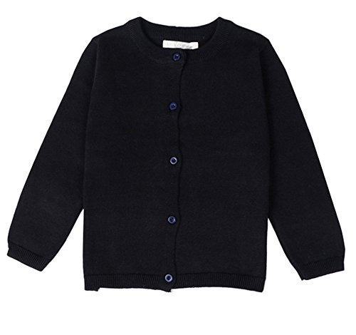 (RJXDLT Little Girls Cardigan Knit Sweaters Long Sleeve Button Cotton Sweater 4Y Black)