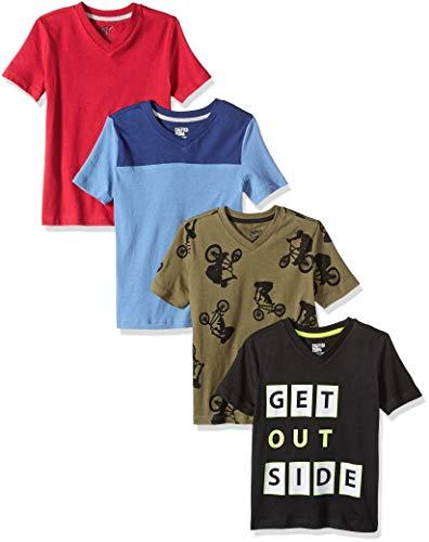 Spotted Zebra Big Boys' 4-Pack Short-Sleeve V-Neck T-Shirts, Go Outside, Medium (8)