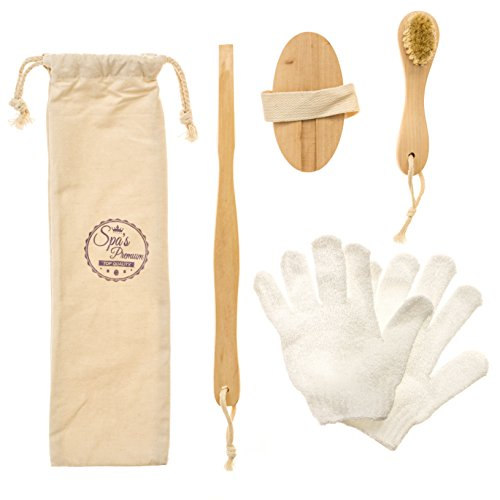 Spa's Premium Body and Face Exfoliating Set with Detachable Handle Body Brush, Face Brush & Exfoliating Glove - Premium Boar Bristles for Dry Brushing
