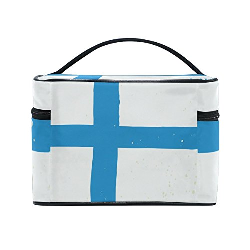 - Distressed Finland Flag Travel Makeup Toiletry Organizer Case Cosmetic Bag