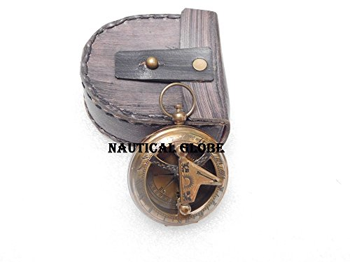 Meridian Nauticals brass Sundial push button compass maritime nautical vintage antique item push button sundial compass