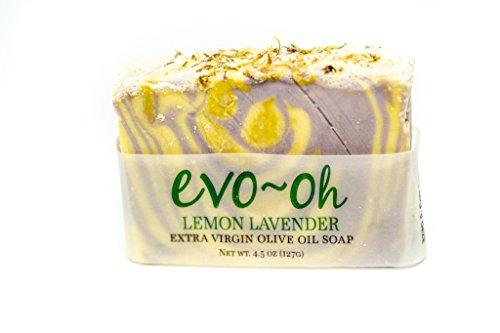 EVO-Oh Extra Virgin Olive Oil Soap - Handmade lemon lavender soap - 100% Natural Herbal Organic Unisex Hand Body Moisturizing Cleansing Soap Bars - Single Pack