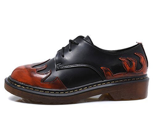 Smilun Women¡¯s Derby Lace-Up Flats Shoes Driving University Collection Tassel Fringe Round Toe Red Orange Flames Size 9.5 B(M)US by Smilun (Image #2)