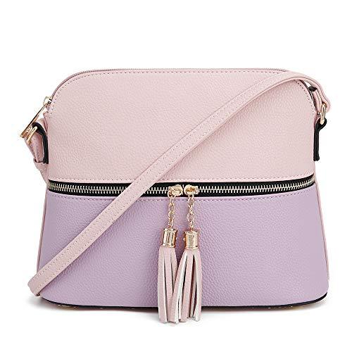 Handbag Girls Purse (SG SUGU Lightweight Medium Dome Crossbody Bag with Tassel | Zipper Pocket | Adjustable Strap (Blush/Lavender))