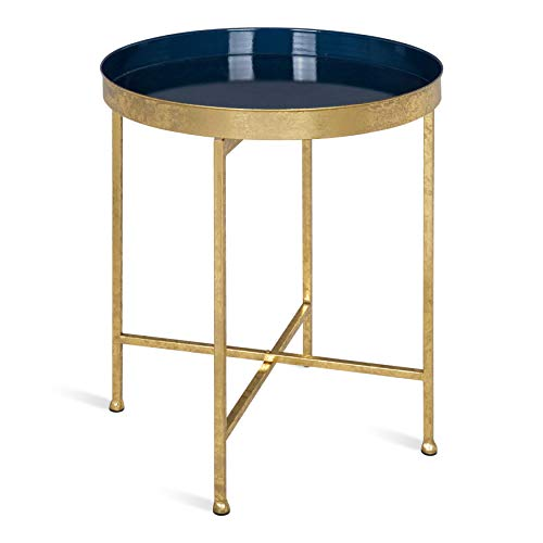 Kate and Laurel Celia 18-Inch Round Metal Foldable Tray Accent Table, Navy and Gold ()