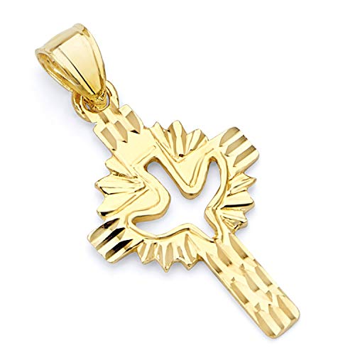 Wellingsale 14K Yellow Gold Polished Diamond Cut Ornate Religious Christian Cross with Holy Spirit Dove Pendant
