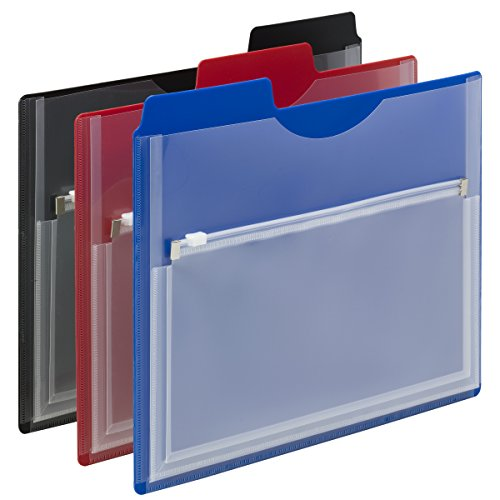 - Smead Poly Project Organizer with Zip Pouch, 1/3- Cut Tab, Letter Size, Assorted Colors, 3 per Pack  (89614)