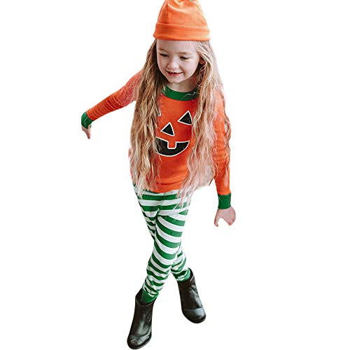 Baby Halloween Costume,Leegor Toddler Girls Cartoon Tops Print Striped Pants Cap Clothes Sets