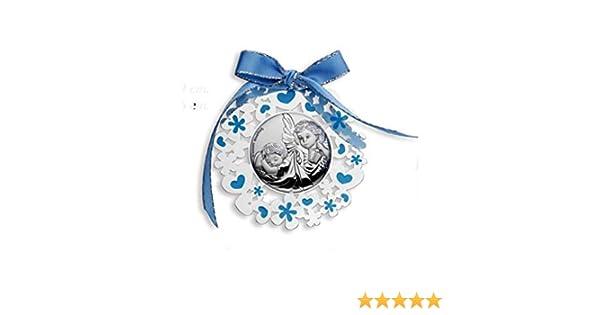 2R Argenti Medalla de plata bilaminada con dise/ño de /ángel de la guarda para beb/é.