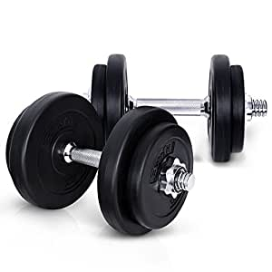20KG Dumbbell Set Bumbbells Weights Plates Adjustable Home Gym Fitness Exercise Workout Training Bar Hand Rack Bench Press Squat Standard Everfit