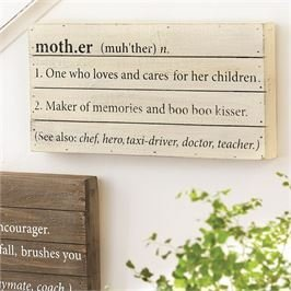 "Wood planked shadow-box style plaque features printed mother ""definition."" Plaque hangs w/ saw tooth hardware. 6"" x 12"""
