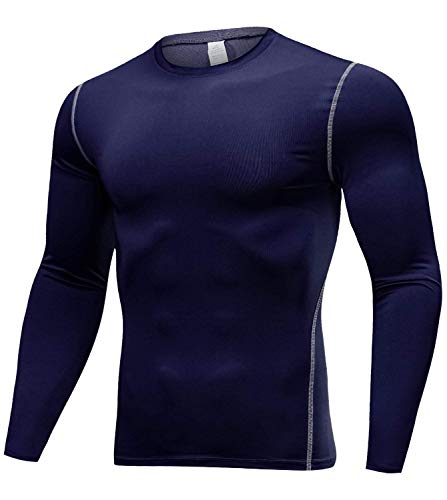 (Lavento Men's Compression Shirt Baselayer Cool Dry Long-Sleeve T-Shirt (1 Pack-Navy Blue,Small))