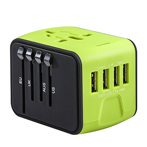 Universal Power Adapter Worldwide Wall Outlet AC Plug 4 USB Charging Ports with 3.4A Smart Power, All in One International Travel Adapter for US UK EU AUST Cell Phone Tablet Laptop Safety Fused, Green