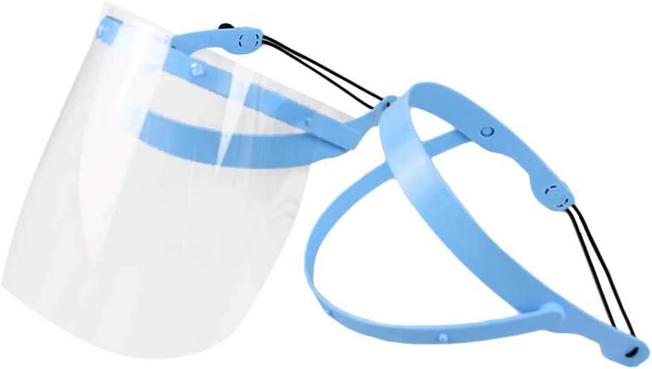 Healefty - Marco protector de cara completa ajustable para casa y clínica, antiempañamiento, desmontable, con 10 películas protectoras de plástico
