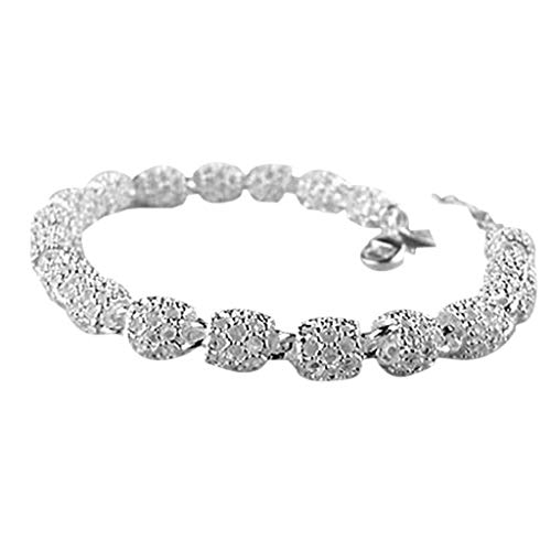 - Wulofs Women's 925 Silver Hollow Chain Bracelet Charm Wrist Bangle Clasp Gift for Mother's Day