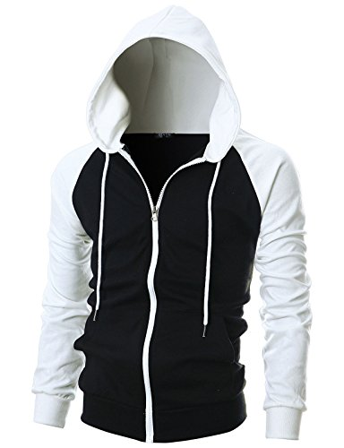 GIVON Mens Slim Fit Long Sleeve Lightweight Raglan Zip-up Hoodie with Kanga Pocket/DCF017-BLACKWHITE-XL by GIVON