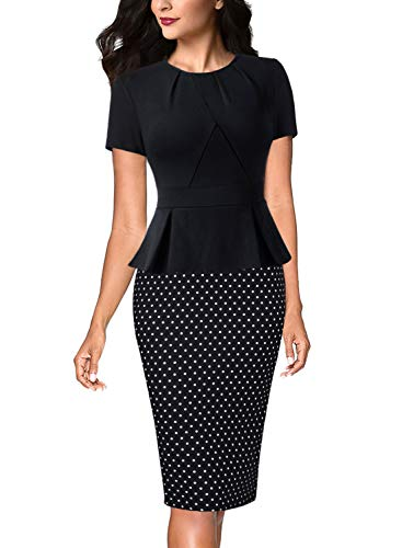 VFSHOW Womens Black and White Dot Pleated Crew Neck Peplum Work Business Office Sheath Dress 2996 BLK S