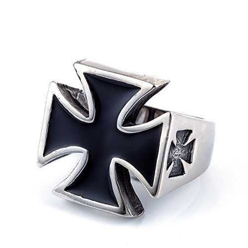 ZMY Men's Fashion Jewelry 316L Stainless Steel Rings For Men Black Cross Shape Design Ring (9) (Steel By Design Jewelry)