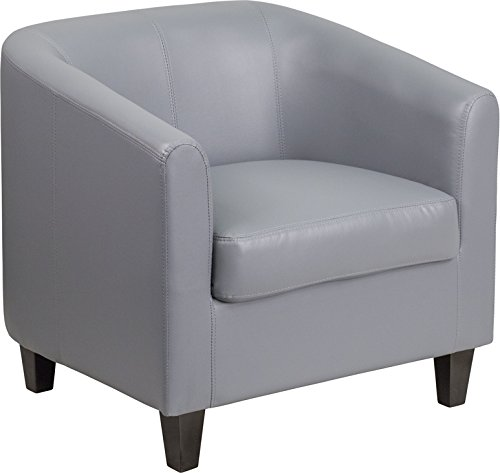 Transitional Design Gray Leathersoft Barrel Shaped Office Guest Reception Chair - Lounge Chair by Belnick